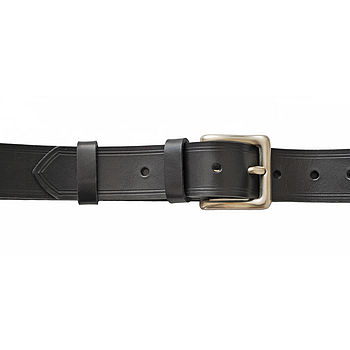 Silverplated Buckled Black Italian Hide Jeans Belt