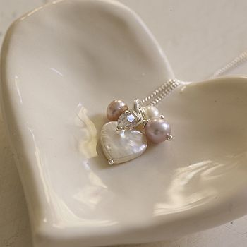 Bridesmaid Pearl And Crystal Silver Necklace