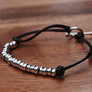 Men's Silver And Leather Friendship Bracelet