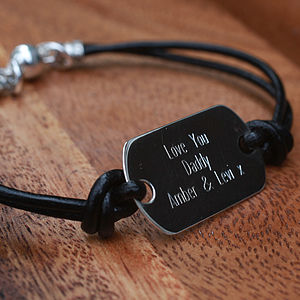 Personalised Sterling Silver Dog Tag Leather Bracelet