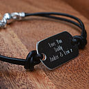 Personalised Sterling Silver And Leather Bracelet