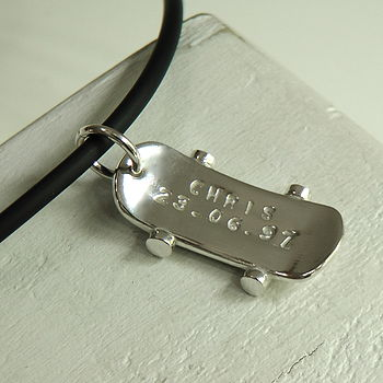 Personalised Silver Skateboard Dude Necklace