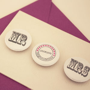Personalised 'Mr' And 'Mrs' Badge Card - wedding stationery