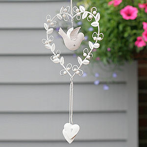 Vintage Bird Heart Decoration - 10th anniversary: tin