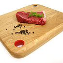 Red coloured board for raw meat