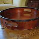 Leather Round Drinks Tray