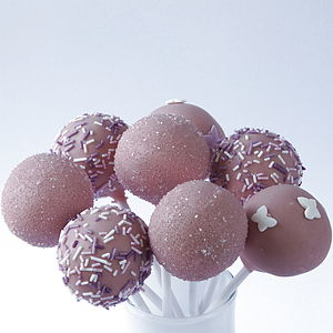 Eight Pink Vintage Cake Pops - edible favours