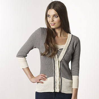 Amy Cardigan and Camisole Set with narrow stripes (black/cream)