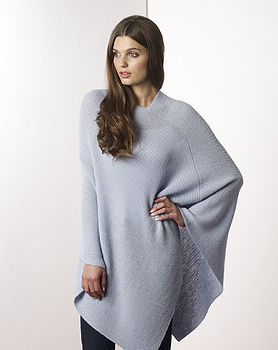 Baby Alpaca Poncho (front, baby blue)