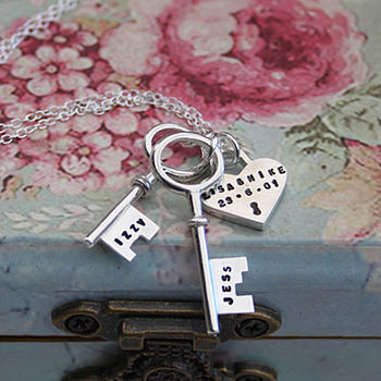 Personalised Silver Keys And Padlock Necklace
