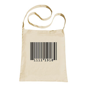 Personalised Barcode Sling Tote Bag - men's accessories