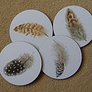 Set Of Four Feather Coasters