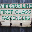 Vintage Style 'White Star Line' Hook Board
