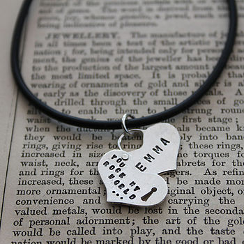 Rivetted Silver Secret Heart Necklace