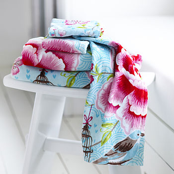Birds of paradise Towel blue