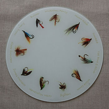 Fishing Fly Glass Platter