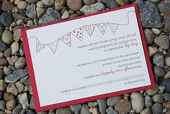 Letterpress Bunting Wedding Invitation