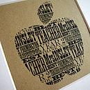 Vintage Typographic Natural Apple Shape print
