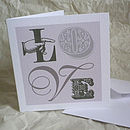 'Love' Vintage Style Card Six Designs