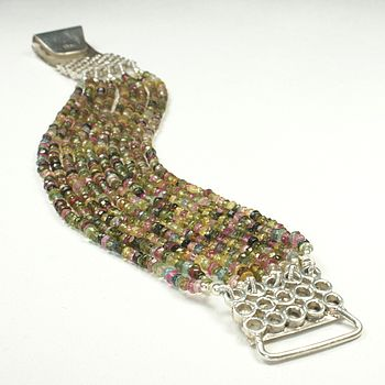 Multi Coloured Tourmaline And Silver Bracelet