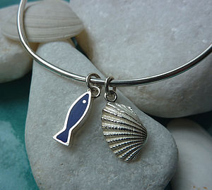 Handmade Silver Fish And Shell Bangle