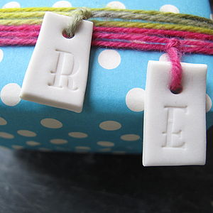 Porcelain Letter Tag - ribbon & wrap