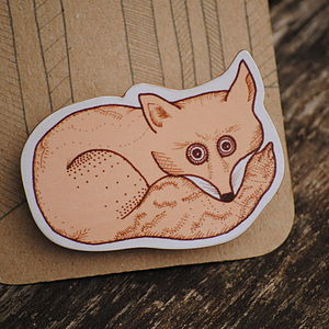 Illustrated Fox Brooch - pins & brooches