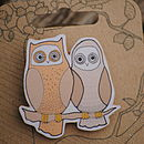 Illustrated Owls Brooch