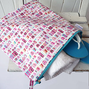Vintage Style Oilcloth Gym/Wet Bag - make-up & wash bags