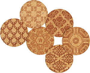 Classic Damask Natural Cork Coasters - placemats & coasters