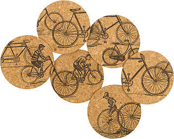 Antique Bicycles Cork Coasters