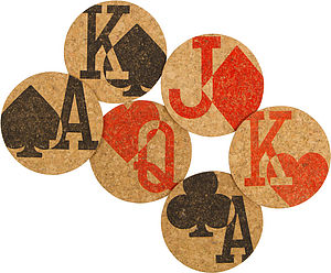 Gamblers Charm Cork Coasters 50% Off - dining room