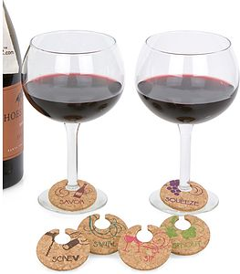 Set Of Six Cork Wine Charms *Super Sale - drink & barware