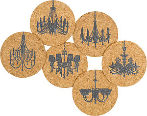 Chandelier Cork Coasters - placemats & coasters
