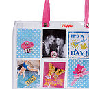 Style your own large bag with pink handles
