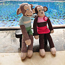 Organic Cotton Monkey Toy - Green with White Stripe and Pink Swimsuit