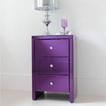Purple Glass Bedside Table