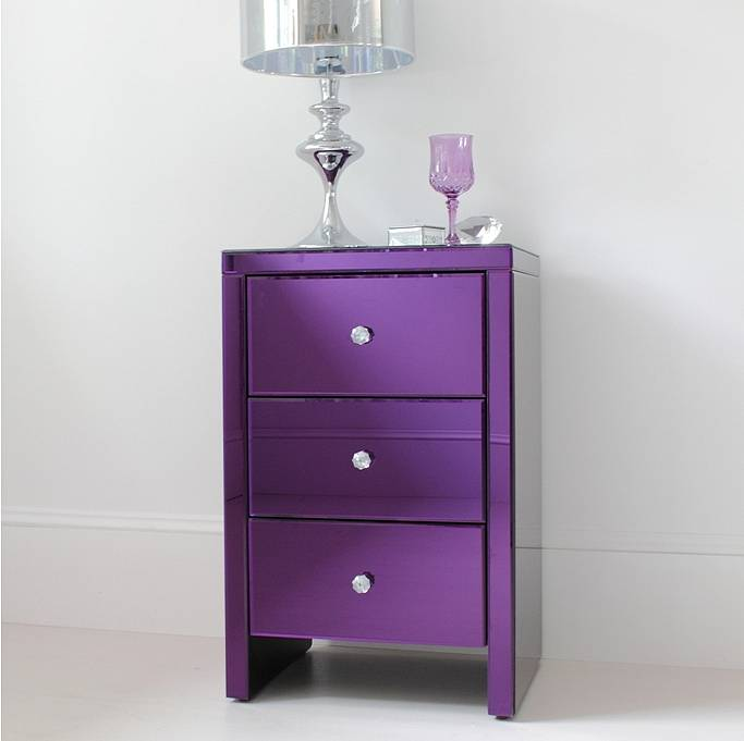 Purple Glass Bedside Table By Out There Interiors