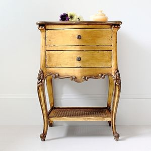 Gold French Style Bedside Table - bedroom
