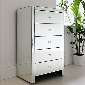 Mirrored Tallboy Chest Of Drawers