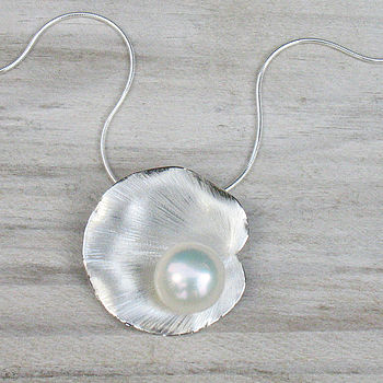Handmade Lily Pad Pearl Pendant