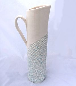 Large Porcelain Jug With Crochet - table decorations