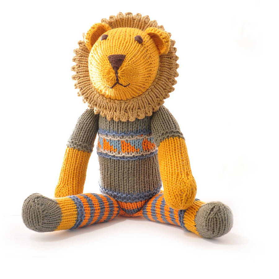hand knitted lion soft toy by chunkichilli | notonthehighstreet.com