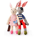 Hand Knitted Soft Toy Rabbit: Pink Dress and Pirate