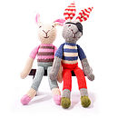 Hand Knitted Soft Toy Rabbit: Pink Stripe and Pirate