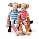 Organic Cotton Monkey Toy - Blue Stripe and Pink Stripe