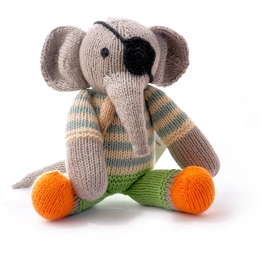 Hand Knitted Toys : Hand knitted elephant soft toy by chunkichilli