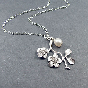 Silver Cherry Blossom And Pearl Necklace - charm jewellery