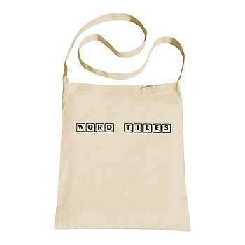 Personalised Word Tile Sling Tote Bag