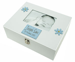 Large Memory Box Boy With Photo Frame - storage & organisers